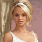 Свадебная прическа на средние волосы с лентой