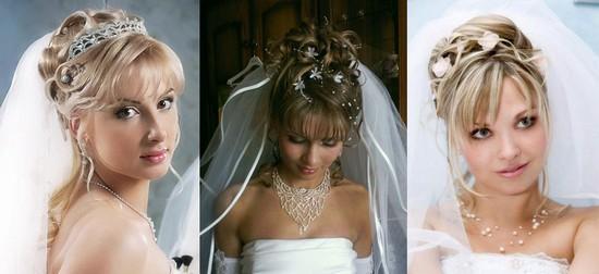 Свадебная прическа с фатой и челкой