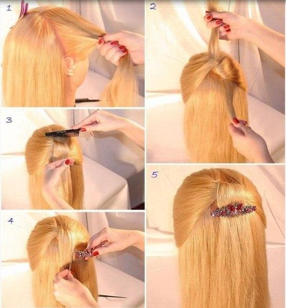 Прически на длинные волосы с заколкой