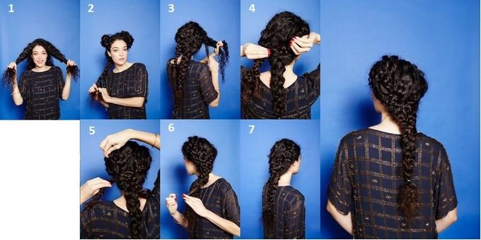 Прически на длинные волосы кудрявые косы