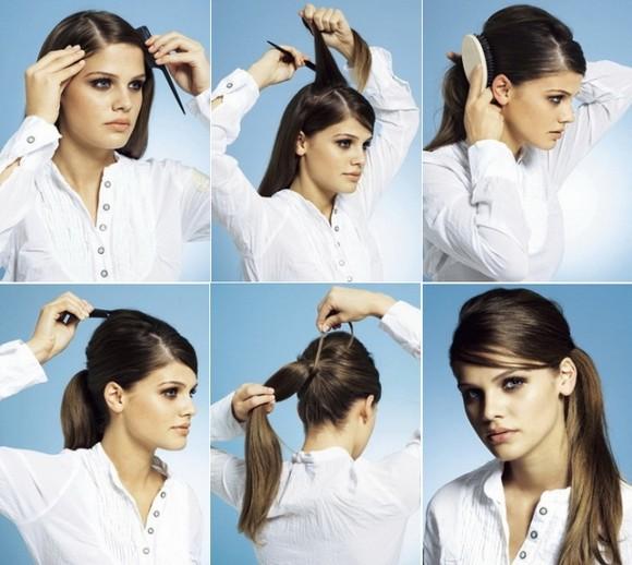 Прически на длинные волосы хвост