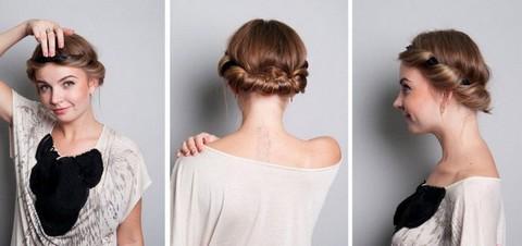 Прическа на короткие волосы с косами