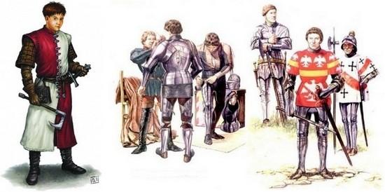 Пажи при рыцарях в средневековье
