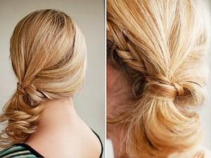 Прическа на каждый день на средние волосы хвост