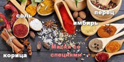 Маски с корицей, имбирем, солью и перцем