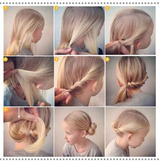 Пучок девочке на длинные волосы