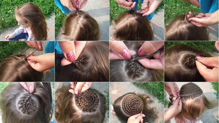 Плетение косички по спирали для девочки