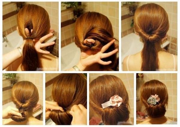 Хвост девочке на длинные волосы