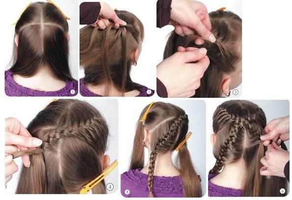 Плетение косички для девочки
