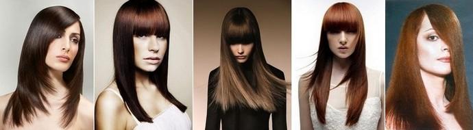 прическа на длинные волосы прямые с длинной челкой