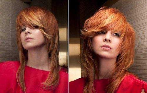 прическа на длинные волосы рыжие