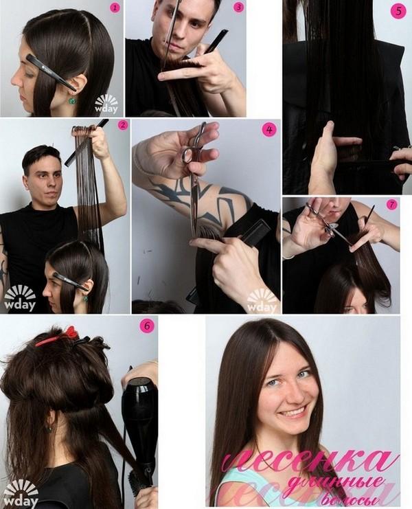 Стрижка каскад на средние волосы как стричь схема