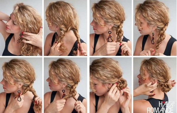 Прически для волос средней длины в домашних условиях на вьющиеся волосы